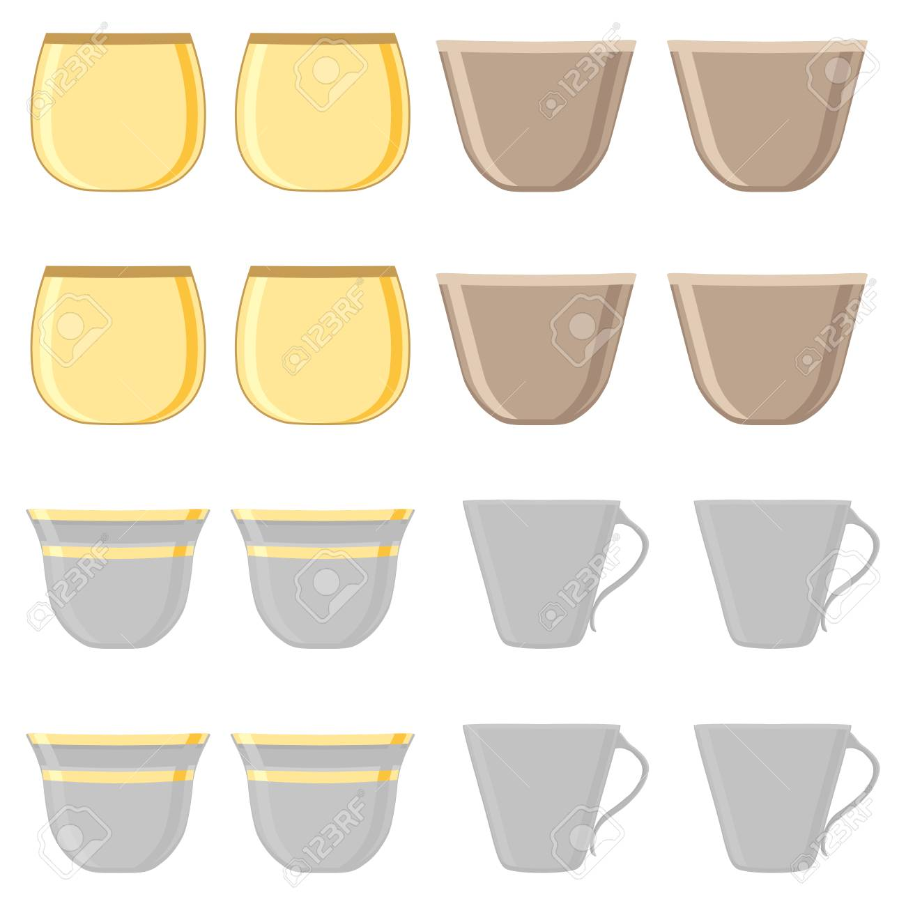 Illustration On Theme Big Colored Set Different Types Cups Mugs Royalty Free Cliparts Vectors And Stock Illustration Image 117350599