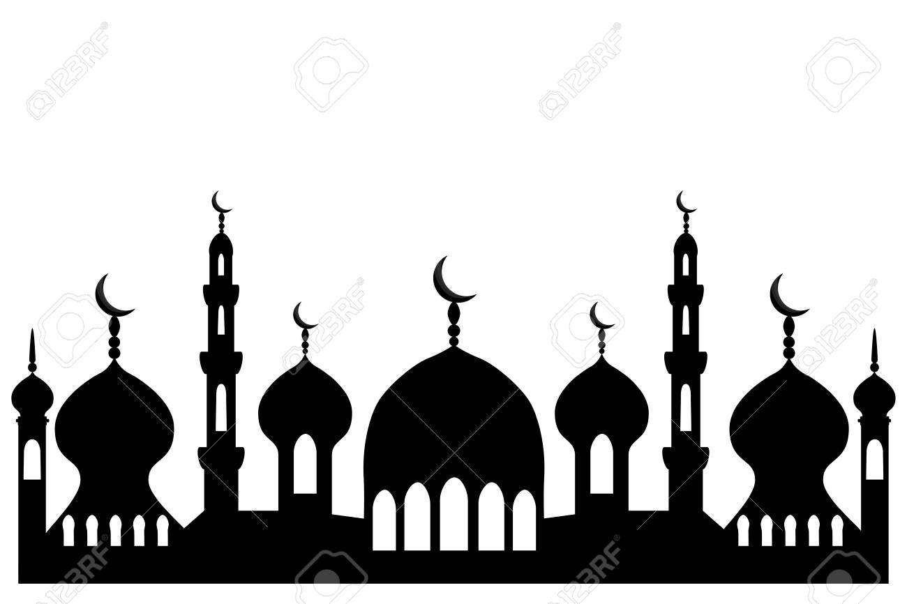 Illustration on theme different types mosques, minaret to celebration