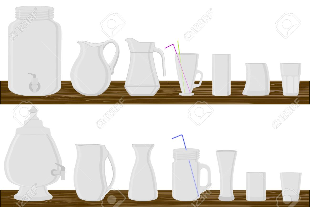Illustration on theme big kit different types glassware, jugs various size. Glassware consisting of organic plastic jugs for fluid nutrition. Jugs standing on wooden table, many kitchen glassware. - 140562507