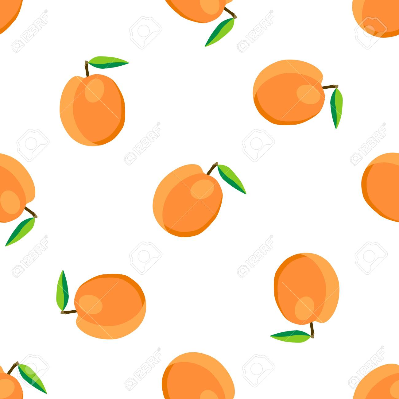 Illustration on theme big colored seamless apricot, bright fruit pattern for seal. Fruit pattern consisting of beautiful seamless repeat apricot. Simple colorful pattern fruit from seamless apricot. - 146163257