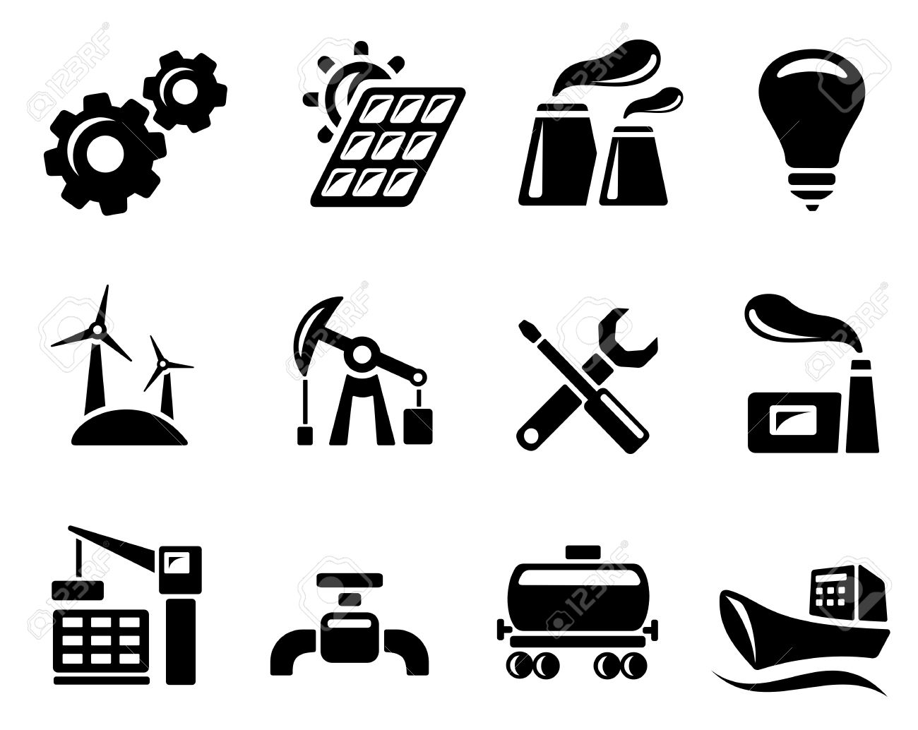 Industry icon set Stock Vector - 13476082