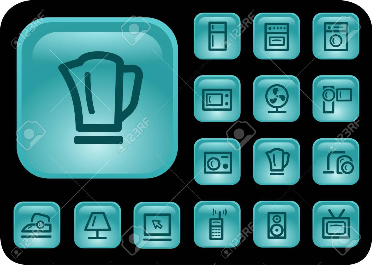 Home electronics button set Stock Vector - 14476863