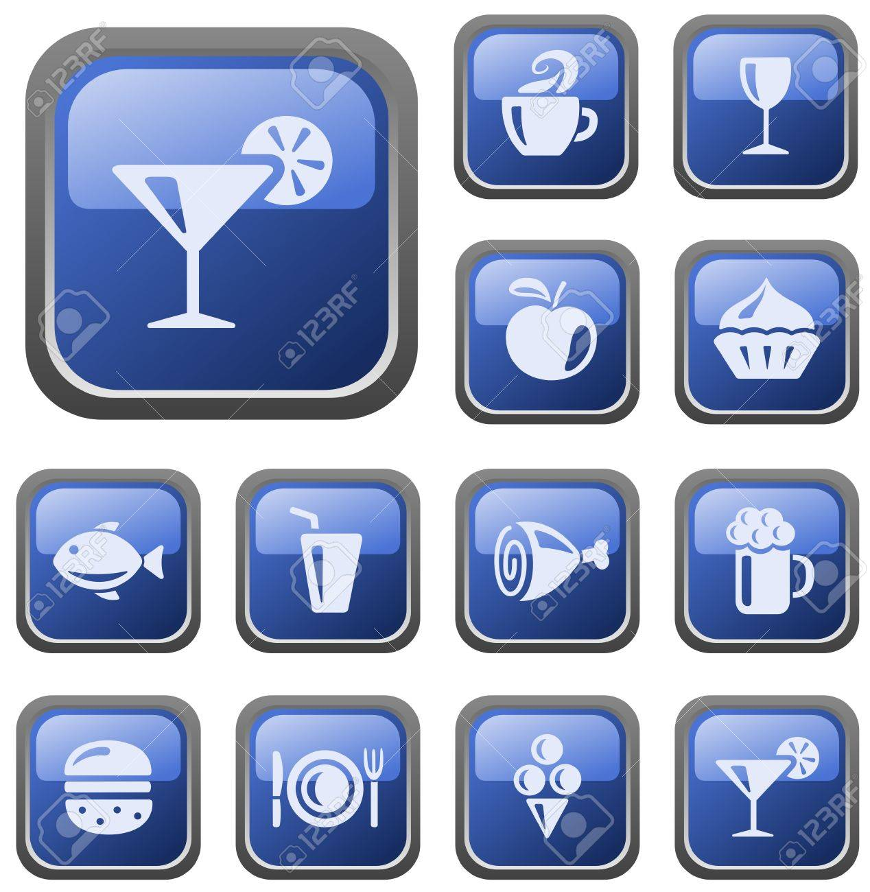 Food and drinks button set Stock Vector - 14646512