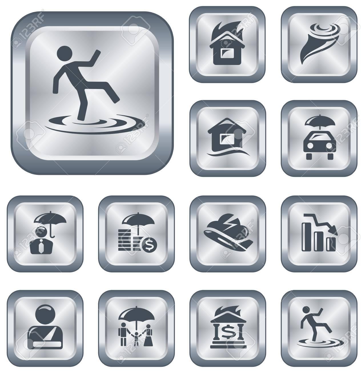 Insurance button set Stock Vector - 15306638