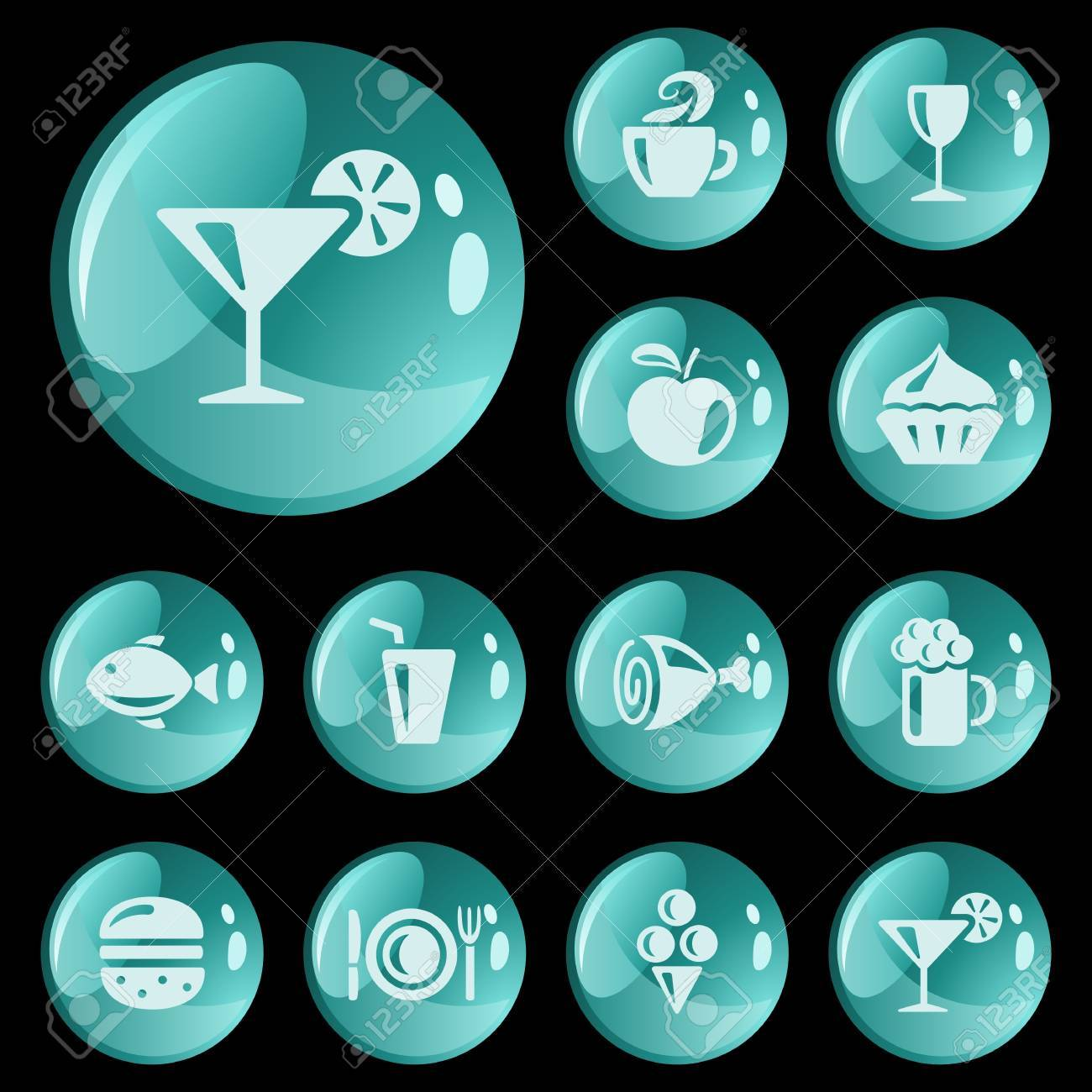 Food and drinks button set Stock Vector - 16713812