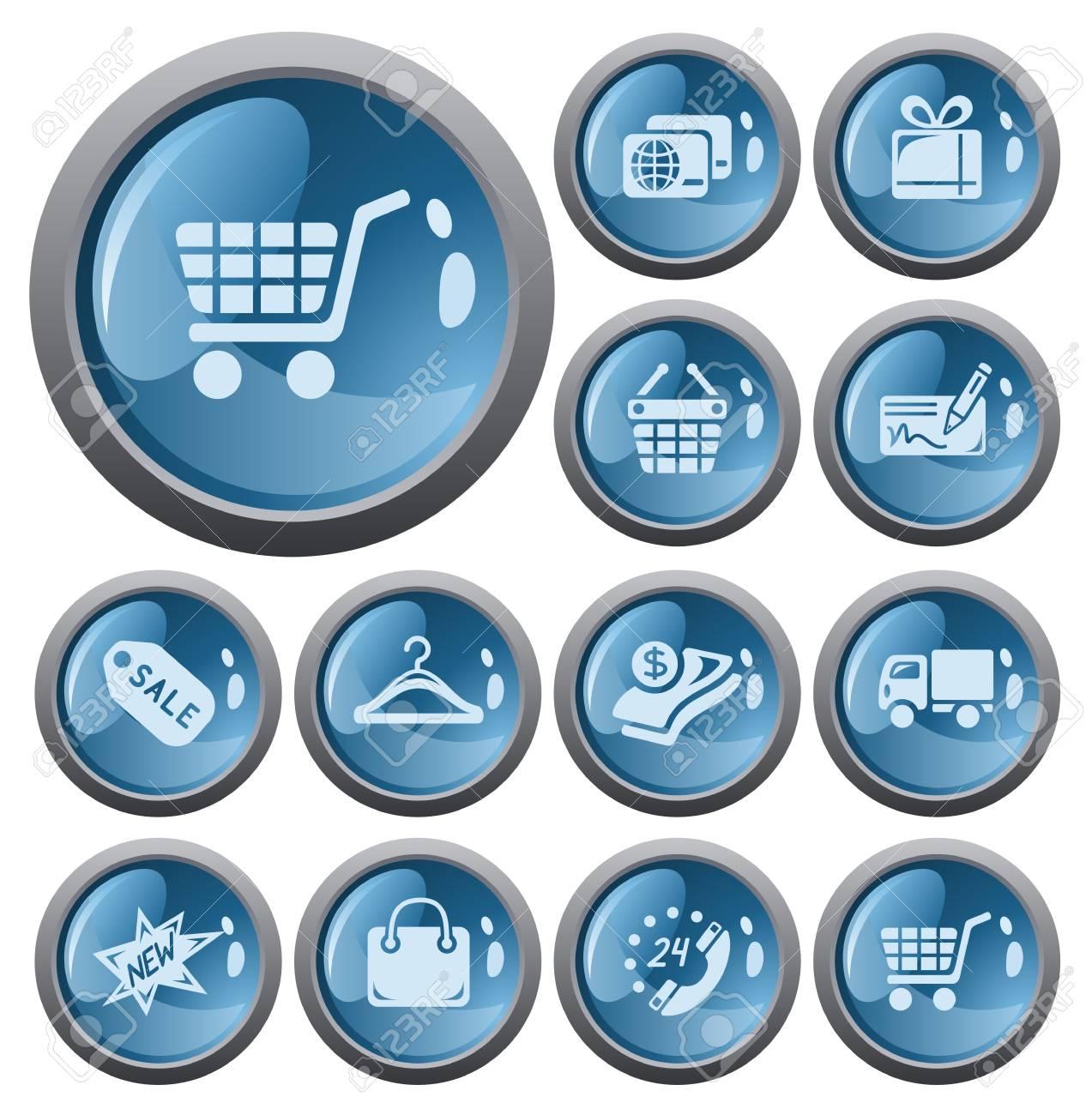 Shopping button set Stock Vector - 17773448