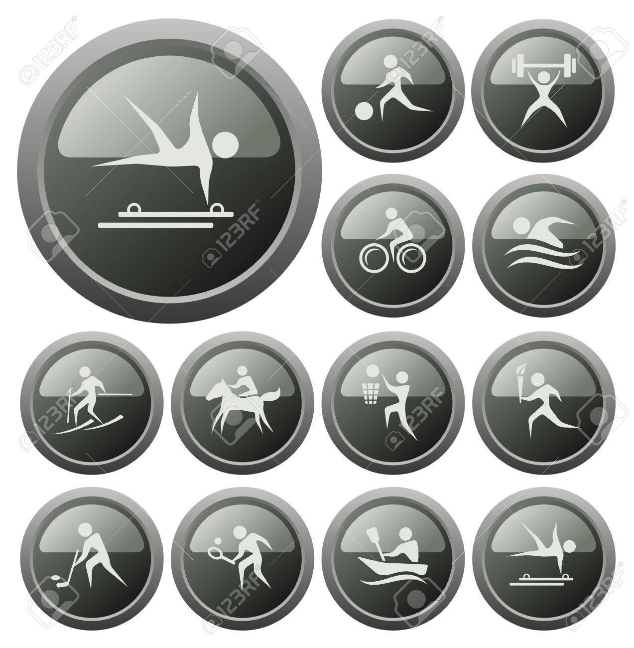 Sport button set Stock Vector - 18539917