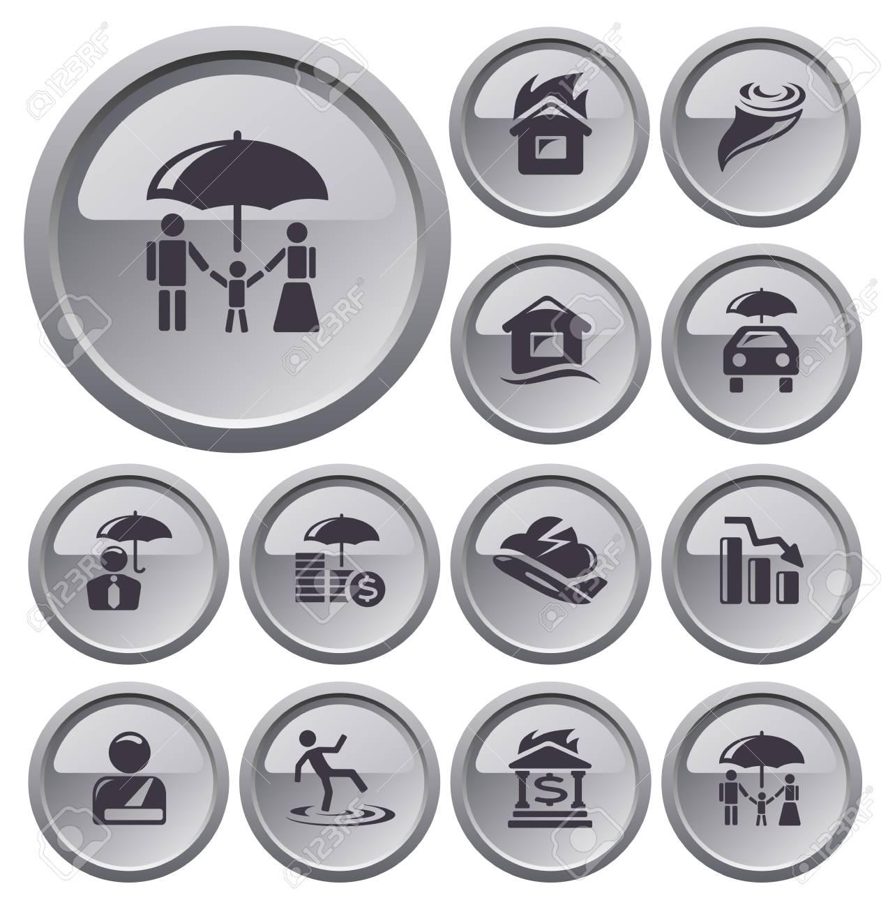 Insurance button set Stock Vector - 23925054