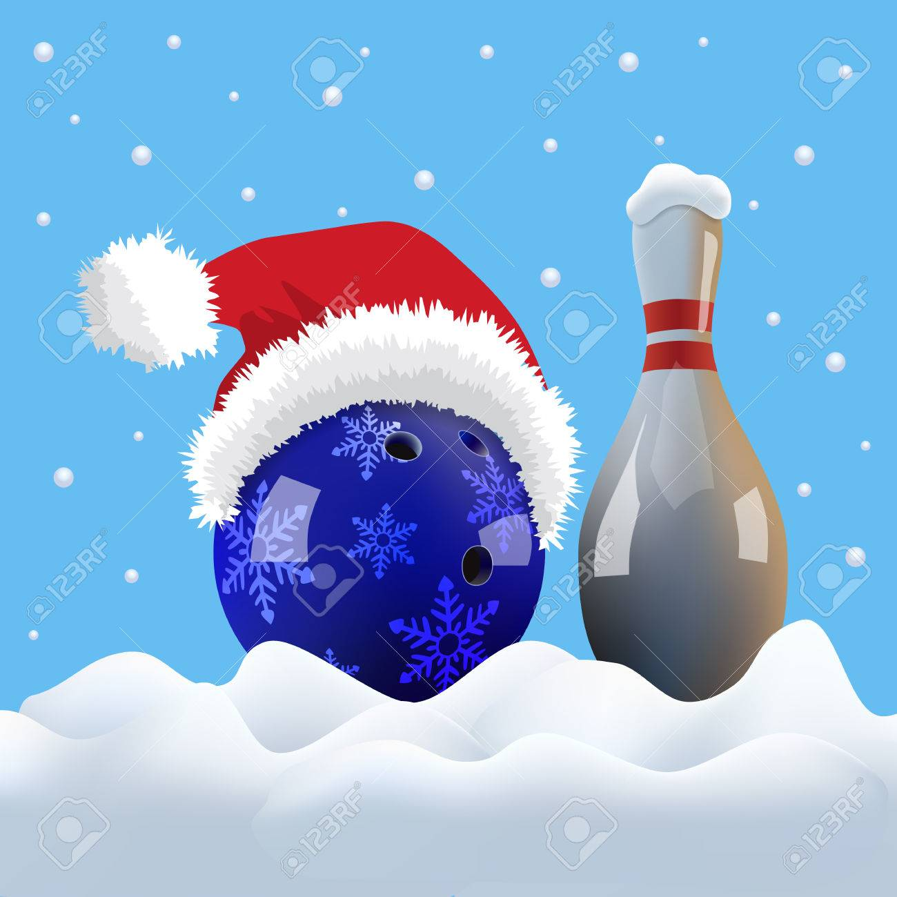 christmas bowling ball with santa cap and pin on snowing background