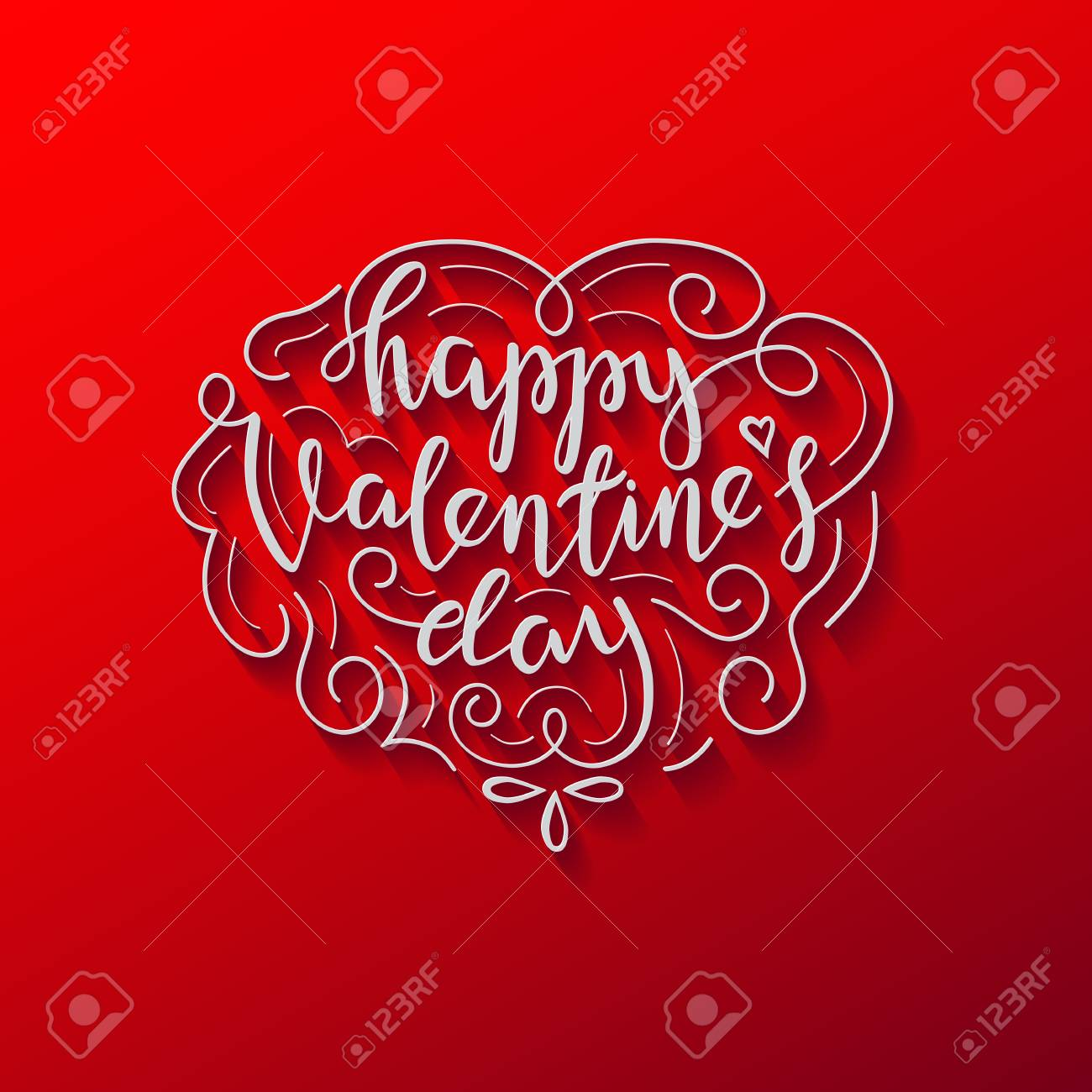 Happy Valentines Day Lettering Card White Letters With Ornament