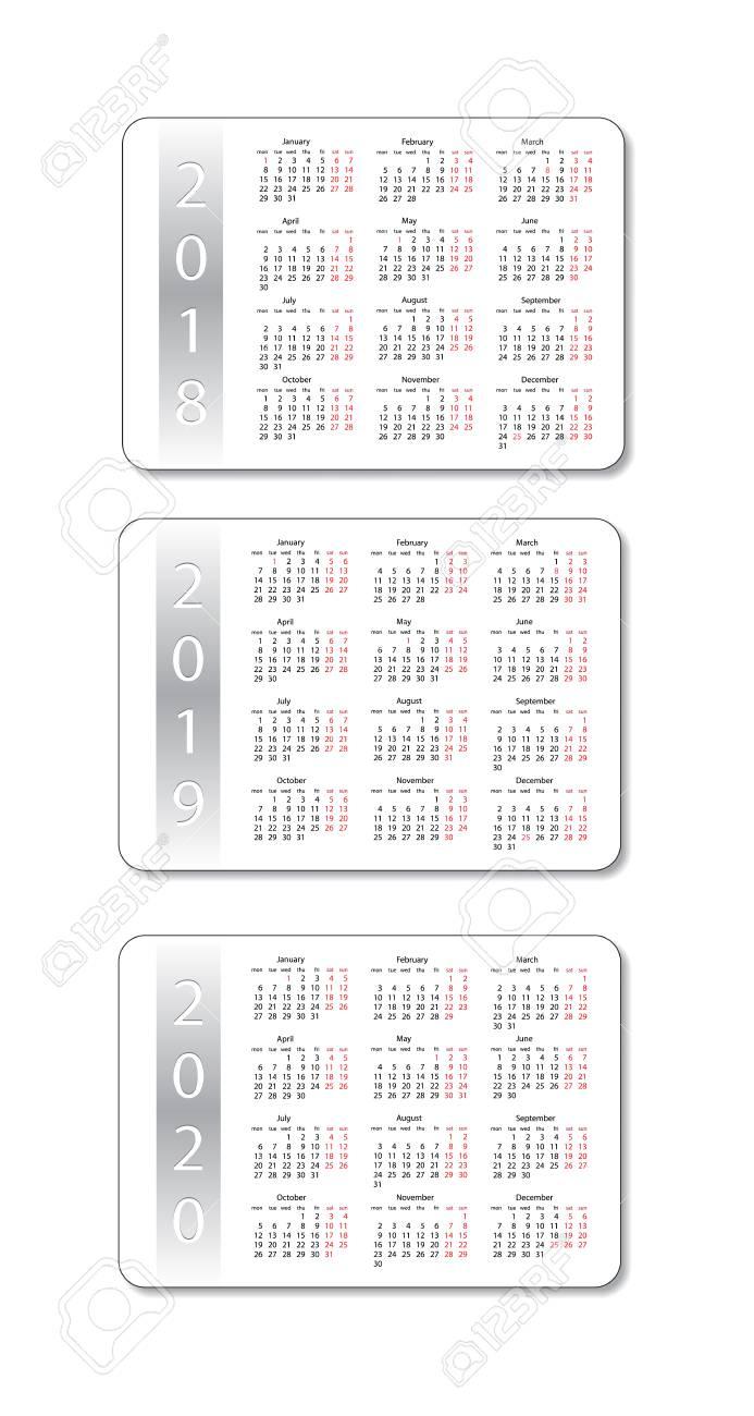 Calendrier De Poche 2019.Set De Calendrier De Poche De Vecteur 2018 2019 Et 2020 Ans Modele De Conception Blanche