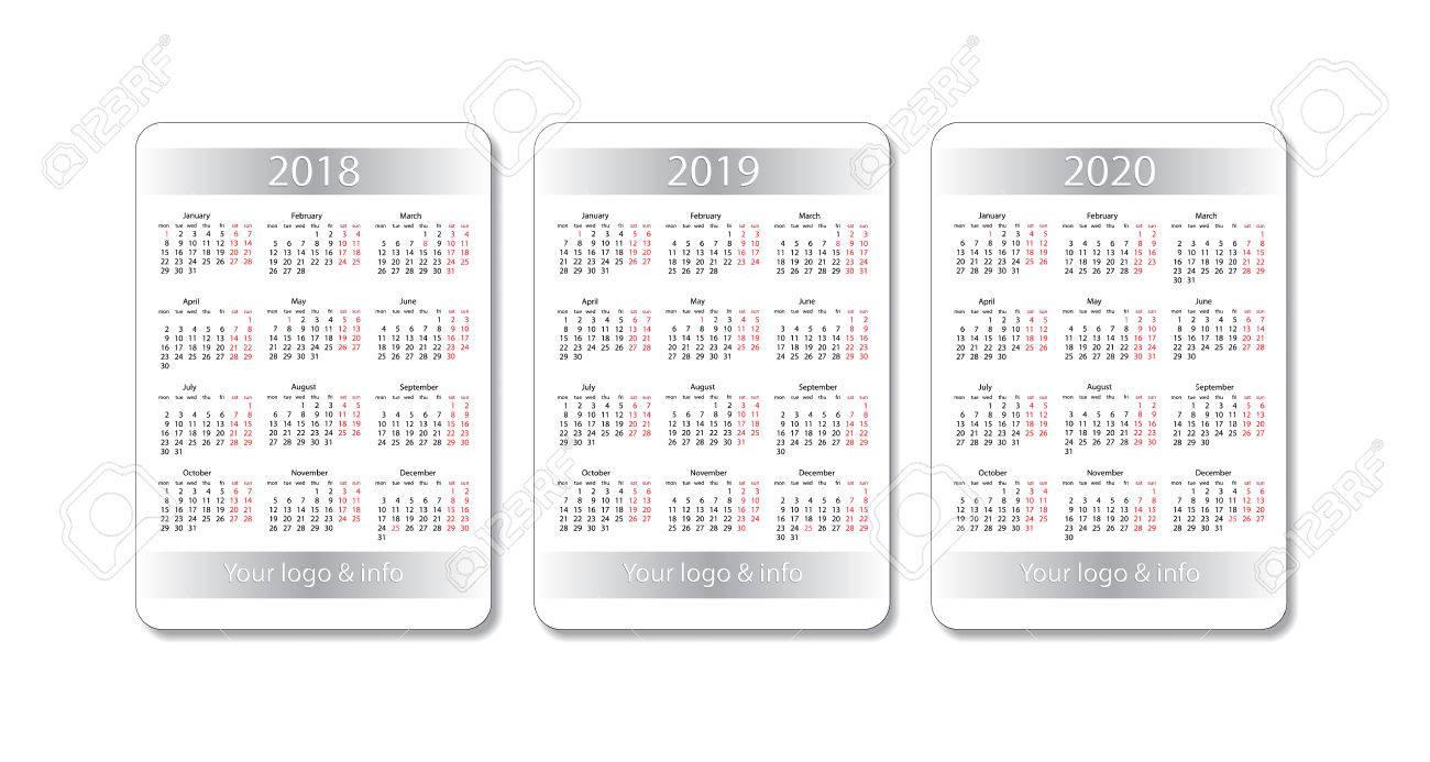 Vector De Calendario 2020.Pocket Calendar Set 2018 2019 And 2020 Years Vector White
