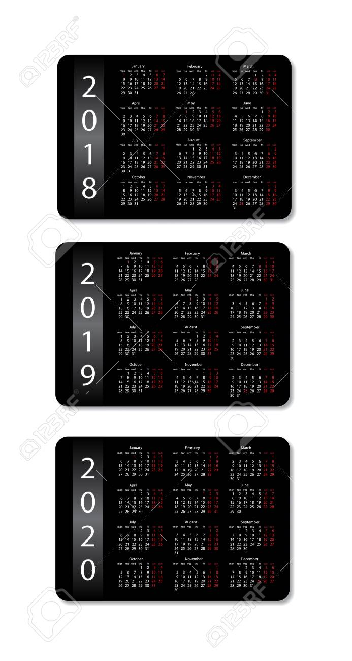 pocket calendar set 2018 2019 and 2020 years vector black design template stock