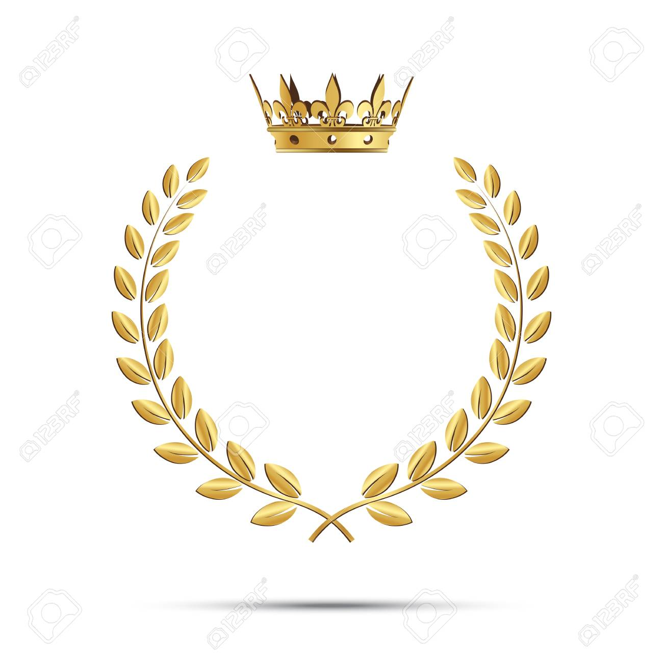 Isolated golden laurel wreath with crown. Vector illustration - 90041489