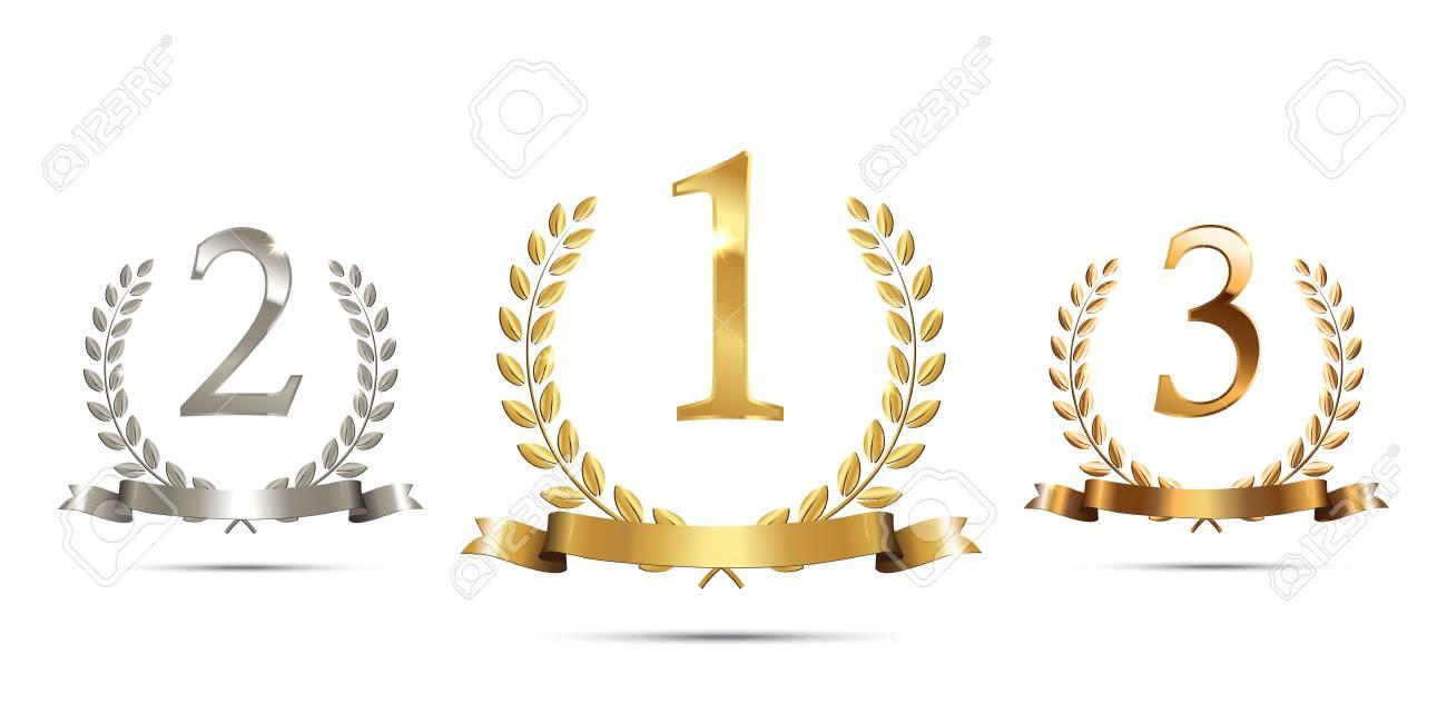 リボンと1位 2位 3位の看板が白い背景に隔離された黄金 銀 ブロンズの月桂樹の花輪 勝者表彰台スポーツシンボル ベクトルイラストのイラスト素材 ベクタ Image
