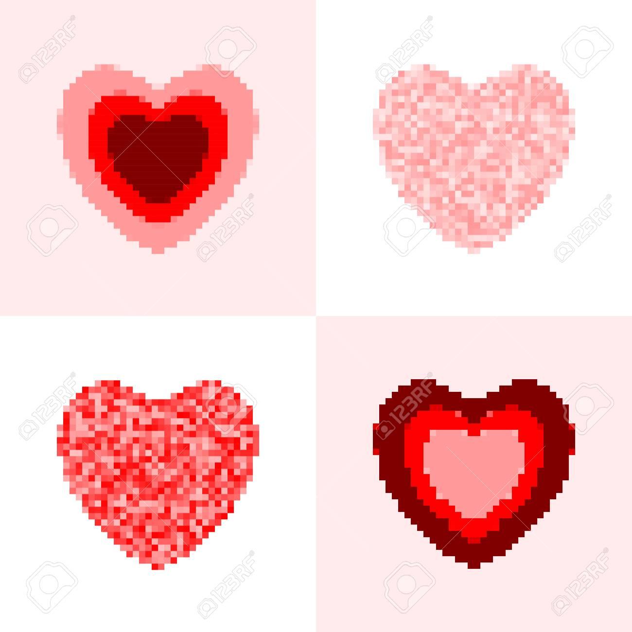 Ensemble De Coeur Pixel Rose Et Rouge Vecteur Symboles De Coeur Isoles Clip Art Libres De Droits Vecteurs Et Illustration Image 98073942