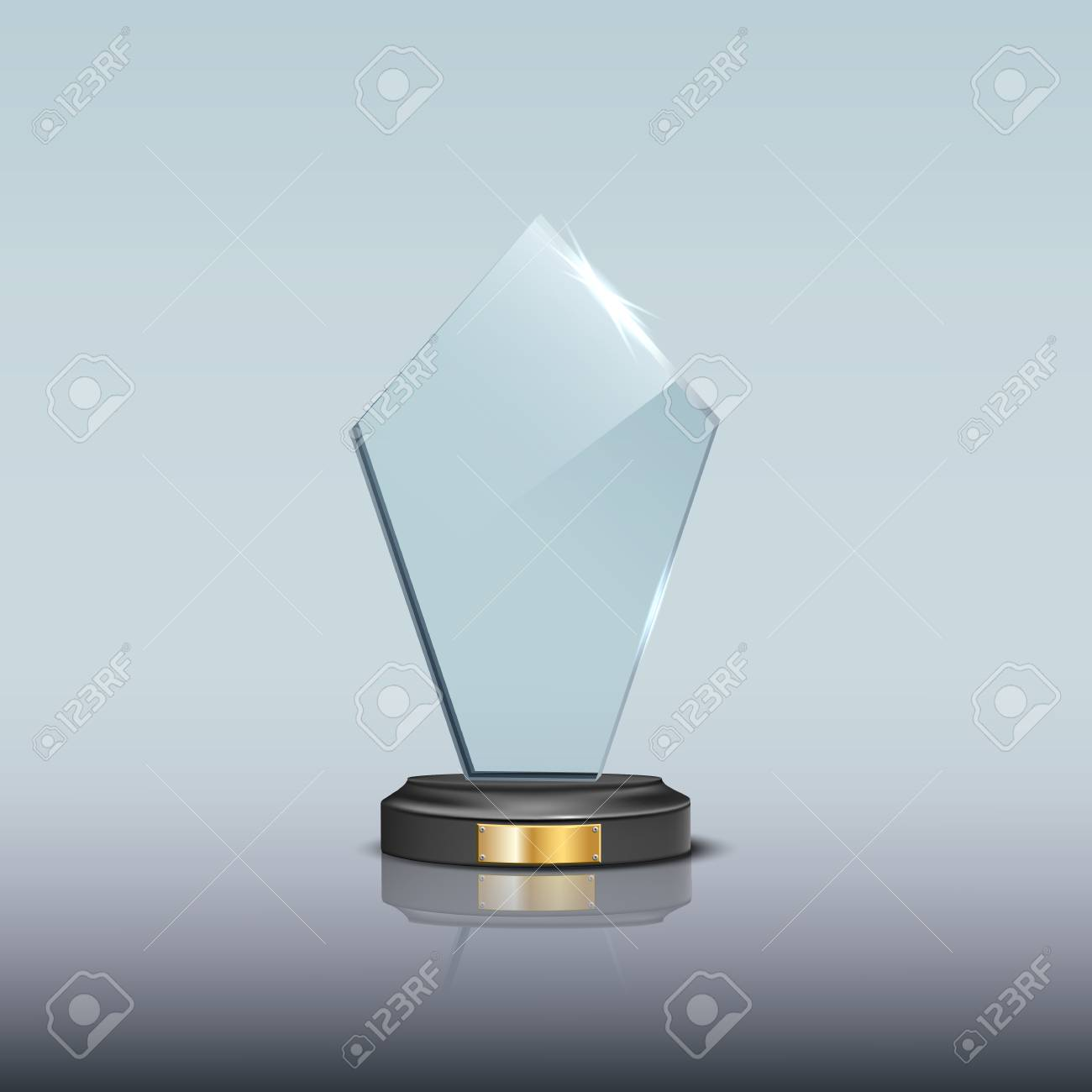 glass award template vector blank glass trophy award royalty free