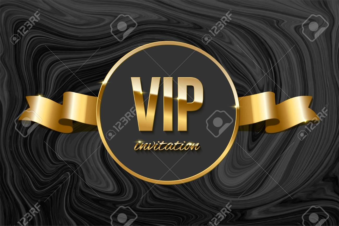 Vip Invitation Design Template Vector Golden Ribbon And Vip