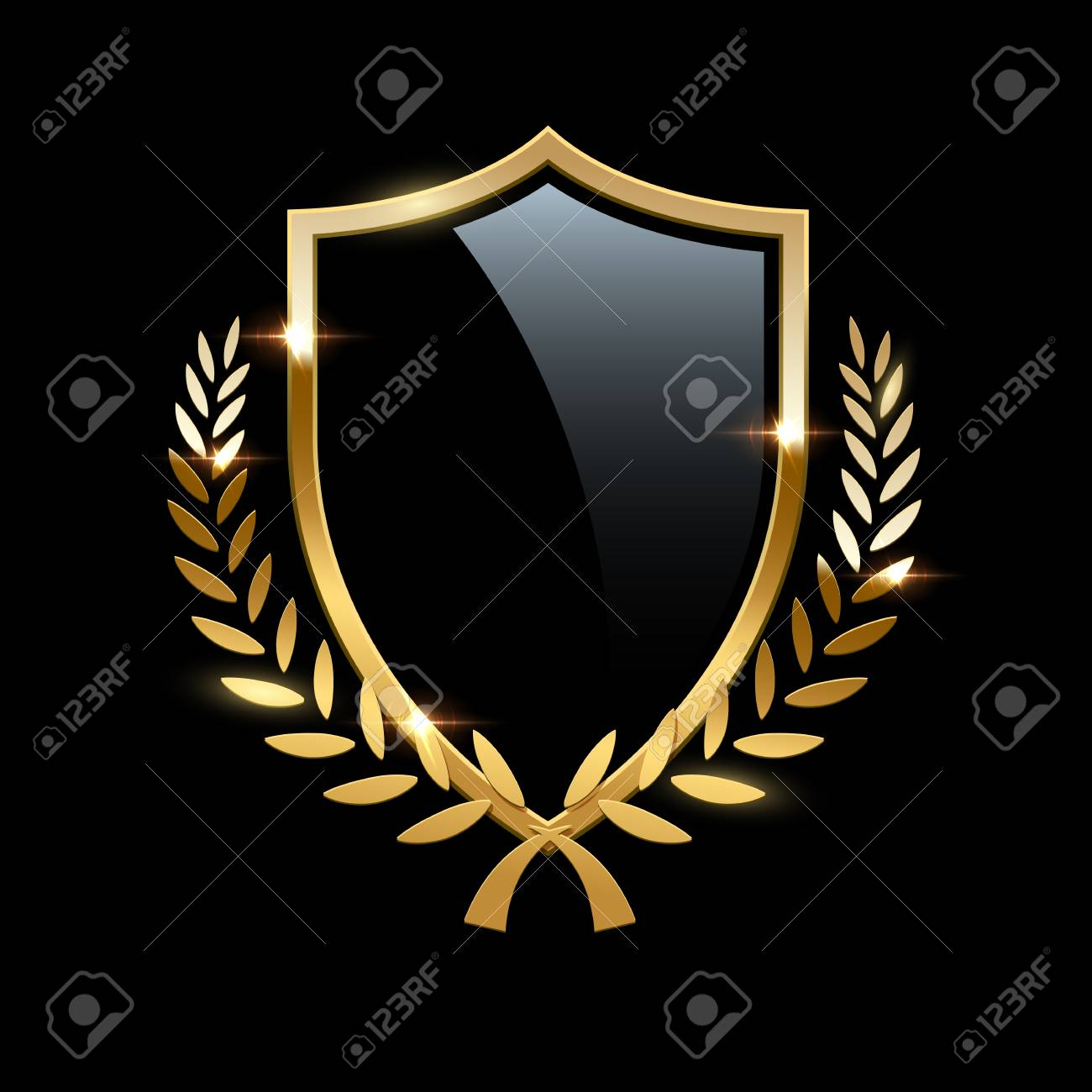 Black glass shield with golden frame and golden laurel wreath isolated on black background. Vector design element. - 112870611