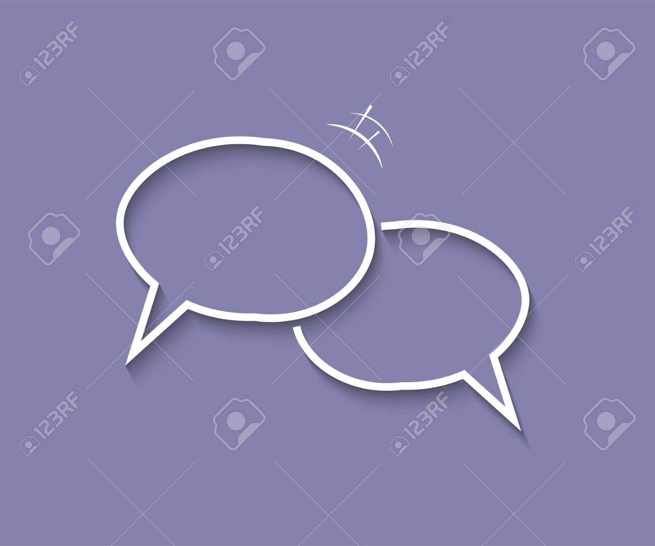 Dialog template. Two blank overlapping speech bubbles with shadows on blue background. Vector illustration - 126293210