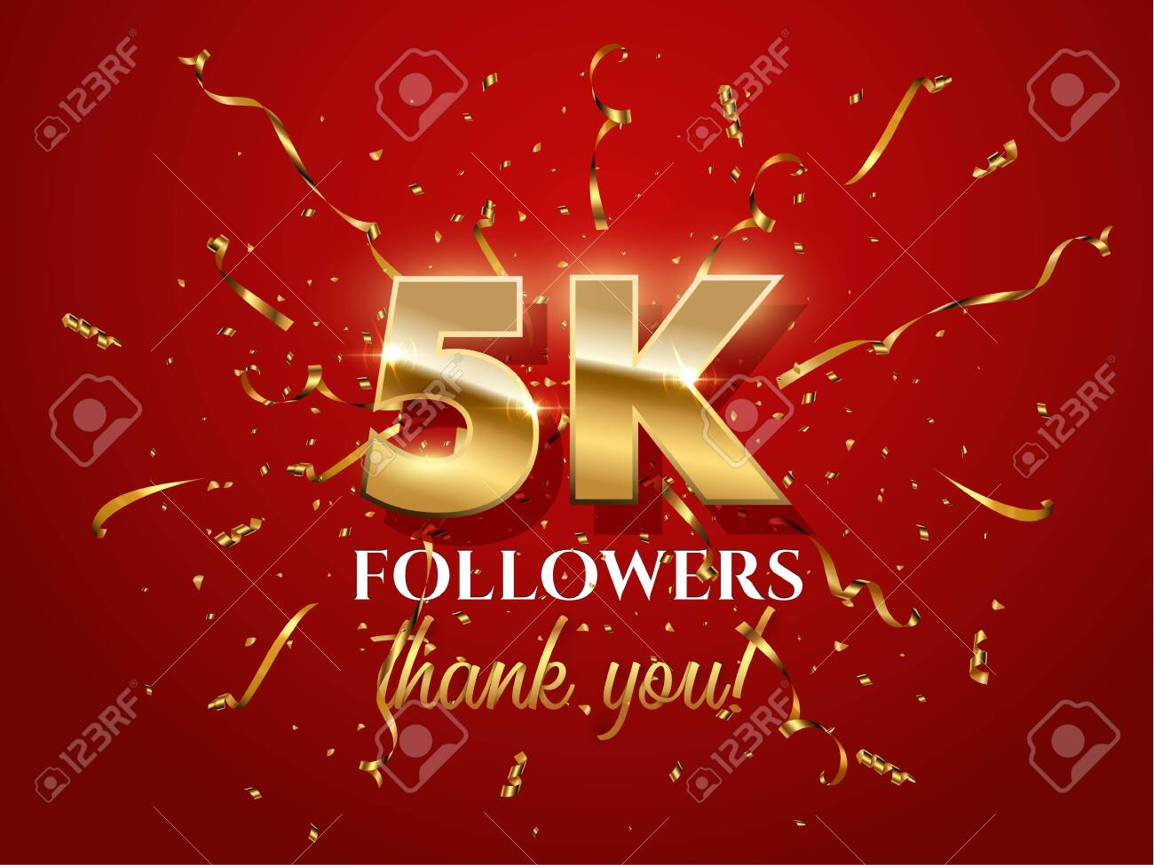 5000 followers celebration vector banner with text. Social media achievement poster. 5k followers thank you lettering. Golden sparkling confetti ribbons. Shiny gratitude text on red gradient backdrop - 122902652