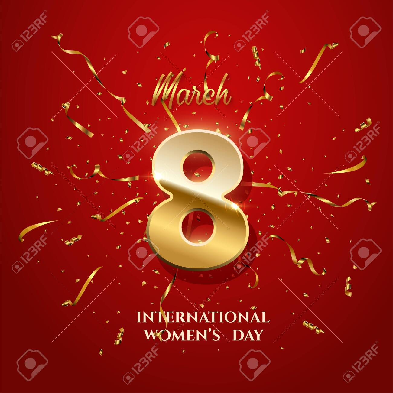 Vector International Womens Day greeting card template. Number eight with sparkling gold ribbons and confetti on red background. 8 march luxury background. - 142929140