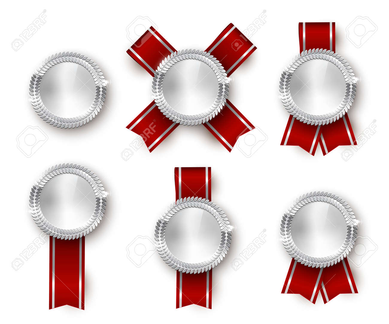 Award medal 3d realistic vector color illustration set. Reward, silver medals with red ribbons. Certified product. Quality badges, emblems with red ribbon. Winner trophy. Isolated design element set. - 164671086
