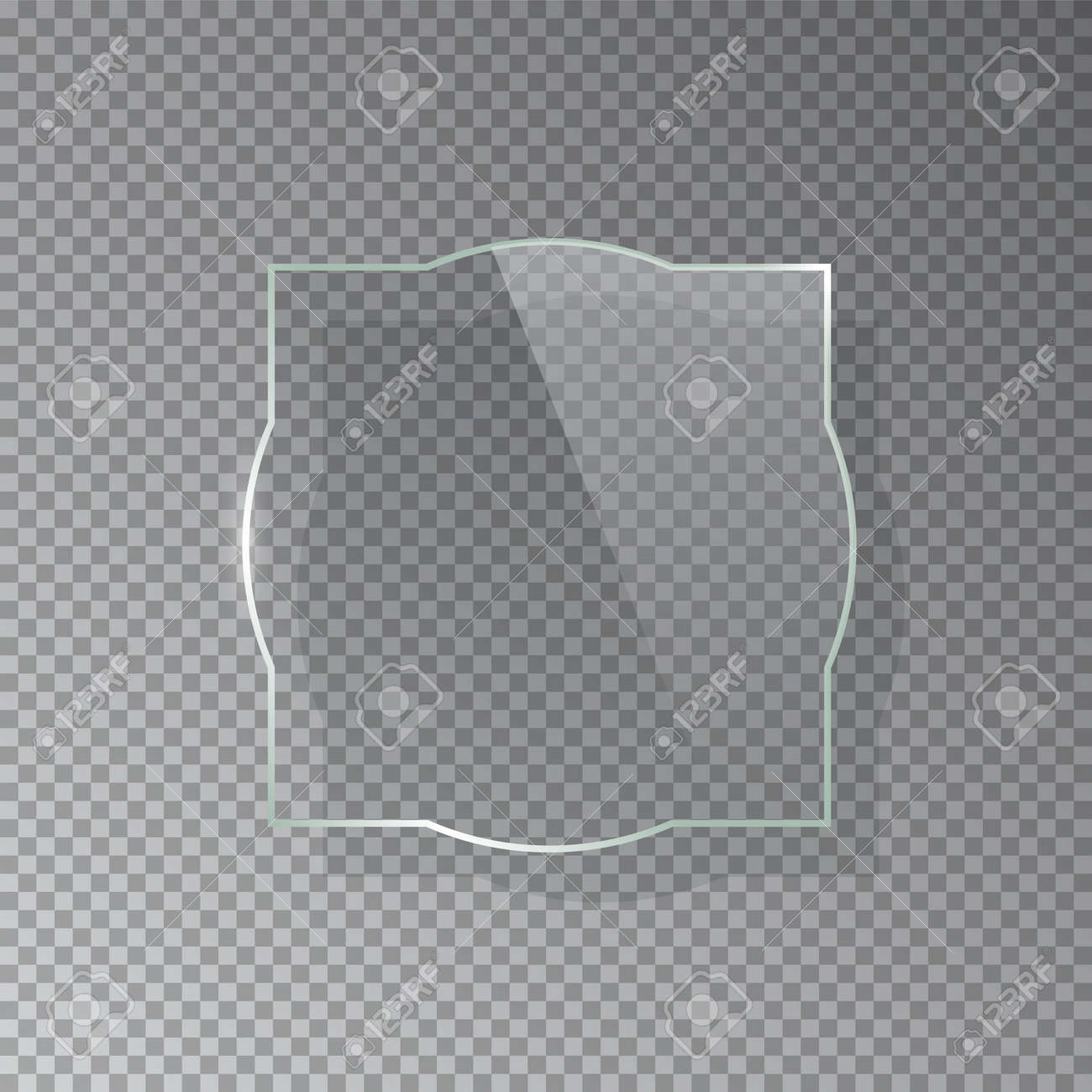 Realistic 3d glass frame isolated on grey transparent background. Creative border plate object. Vector blank framework. - 164500958