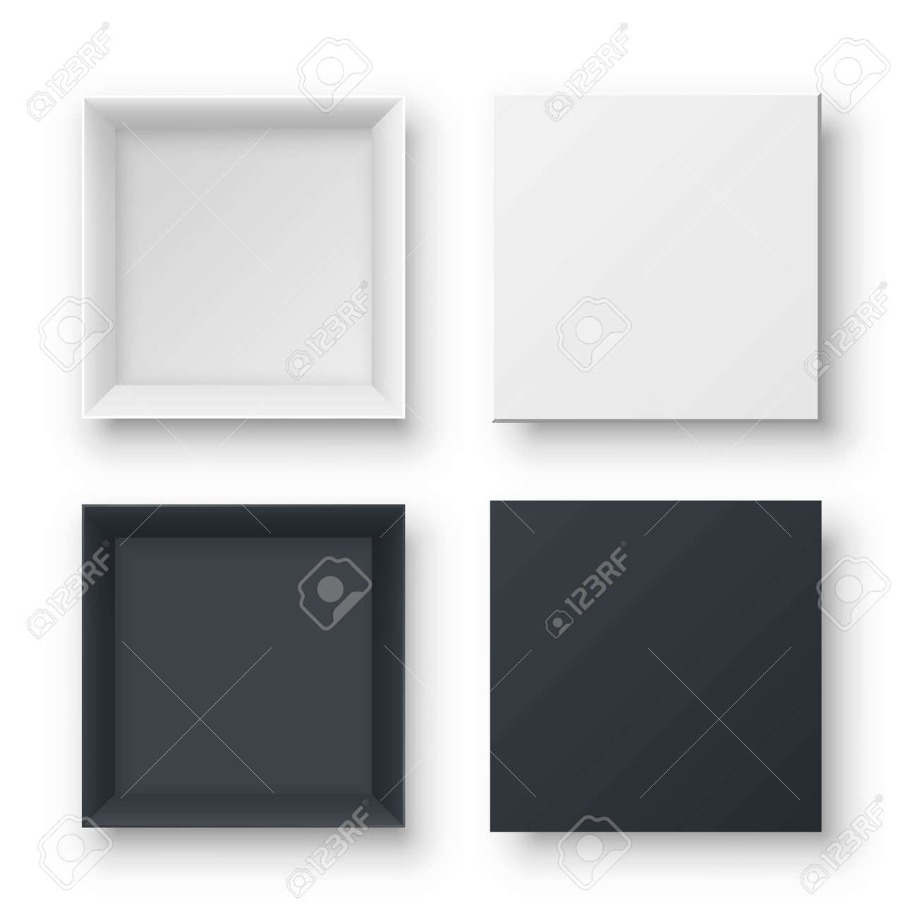 Realistic open empty gift boxes two view. Paper square cardboard white and black container mockups. Blank package models for wrapped product, present, surprise delivery. Objects isolated on white. - 163397484
