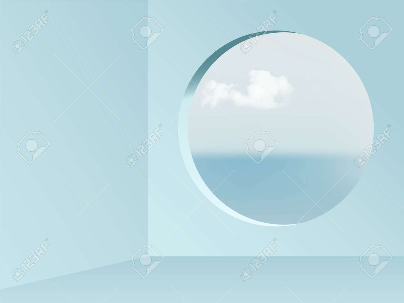 Round window view from blue empty room abstract background. View on blue sky, sea and clouds vector illustration. Abstarct minimal interior design of walls, floor and circular window - 163400604