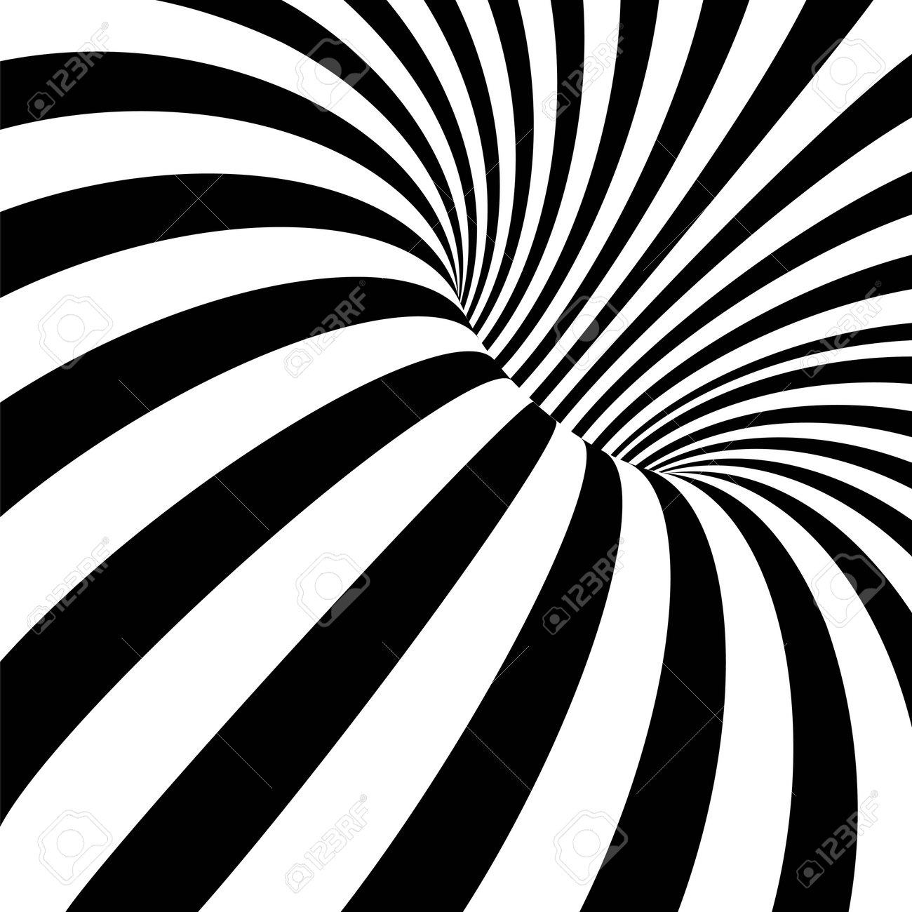 Striped crater on white background. Black stripes on modern circular geometric shape design vector illustration. Graphic optical illusion vortex effect - 163402789
