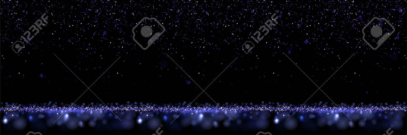 Blue glitter abstract background. Shining sparkling particles of light. Modern bright neon vector illustration. Defocused glowing pattern with blurs. New year, merry xmas card, celebration night - 163402922
