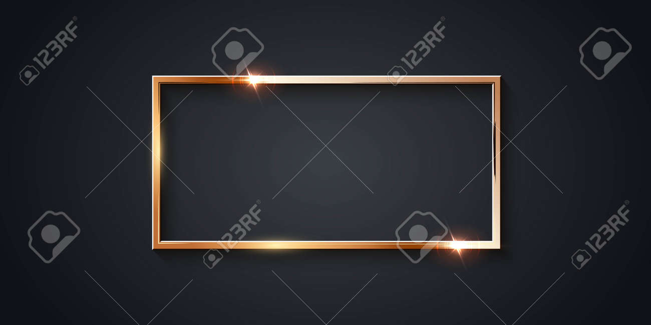 Golden rectangle frame for picture on gray background. Blank space for picture, painting, card or photo. 3d realistic modern template vector illustration. Simple gold object on wall - 163399965