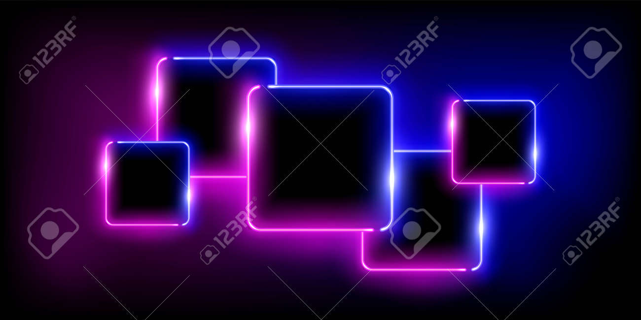 Glowing neon pink and blue squares set abstract background. Lines with electric light frames. Geometric fashion design vector illustration. Empty minimal shapes decoration on black with fog - 163401422