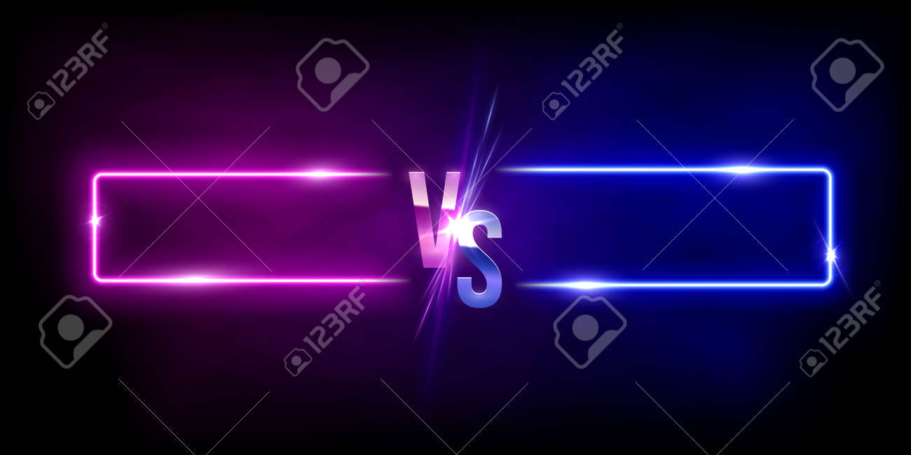 Glowing neon pink versus blue rectangles abstract background. Lines with electric light frames. Geometric fashion design vector illustration. Empty minimal shapes decoration - 163400558