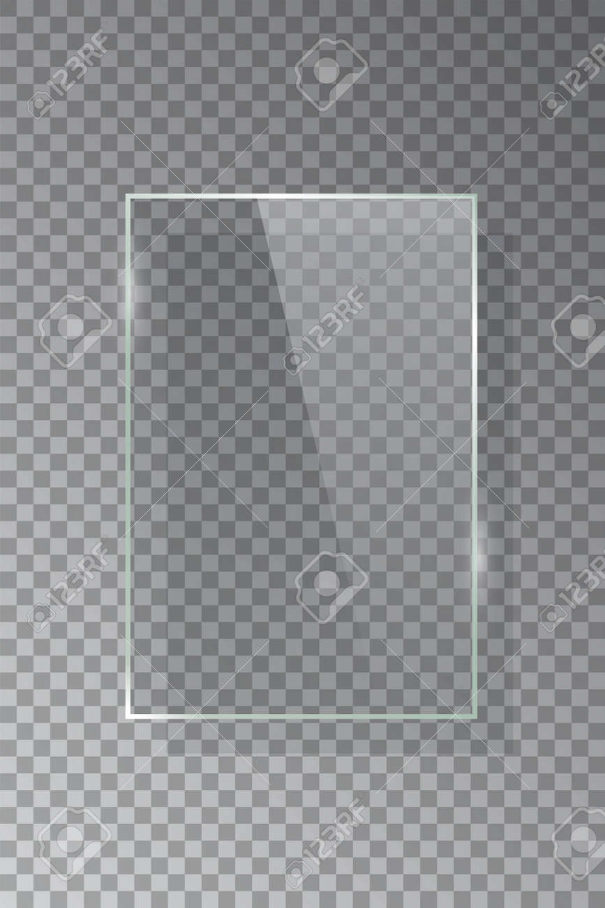 Realistic 3d vertical rectangular glass frame isolated on grey transparent background. Creative border plate object. Vector blank framework. - 164500993