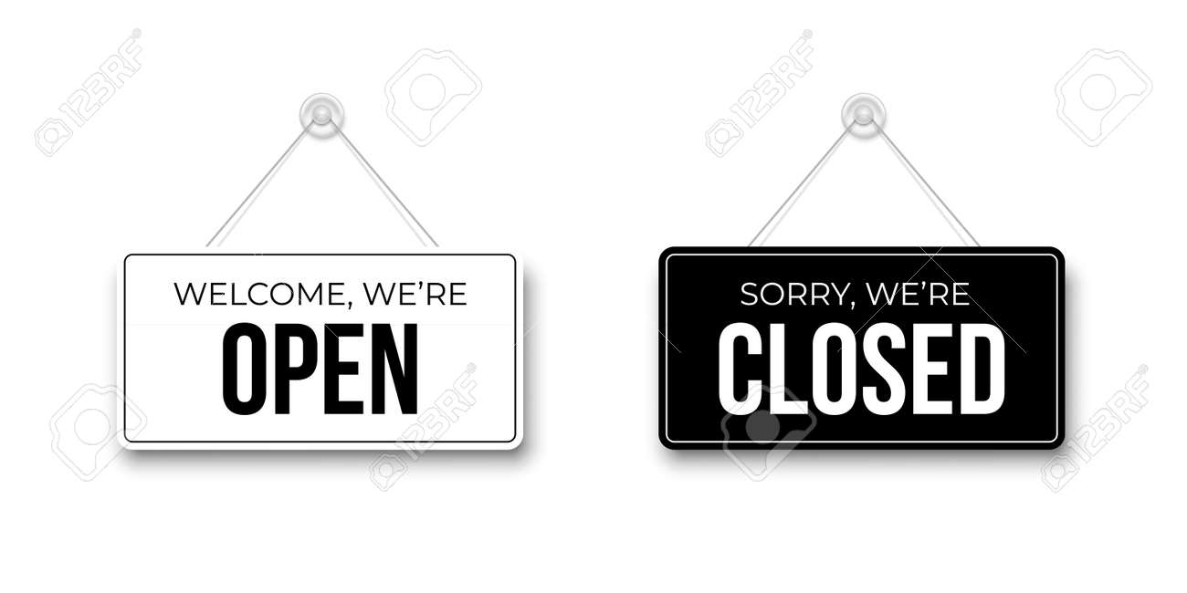 Black Closed and White Open signboards hanged on suction cup. Rectangular shape clipboard for retail, shop, cafe, bar, restaurant. Announcement template with opportunity to visit on white backdrop. - 163384336