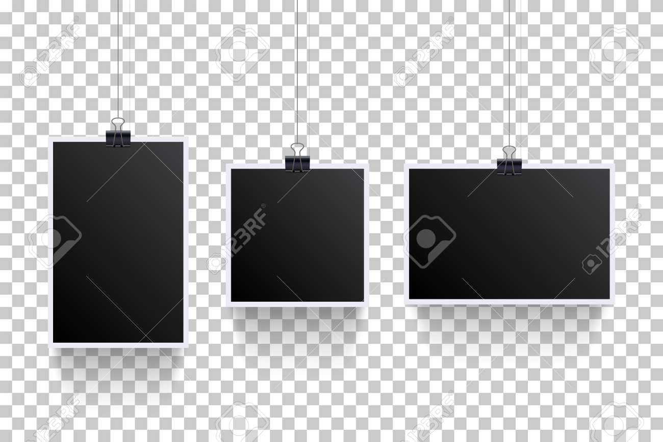 Blank photoframes hanging with pins on cords set. Realistic retro art collection vector illustration. Black photo template with white frames on threads on transparent background - 163383122