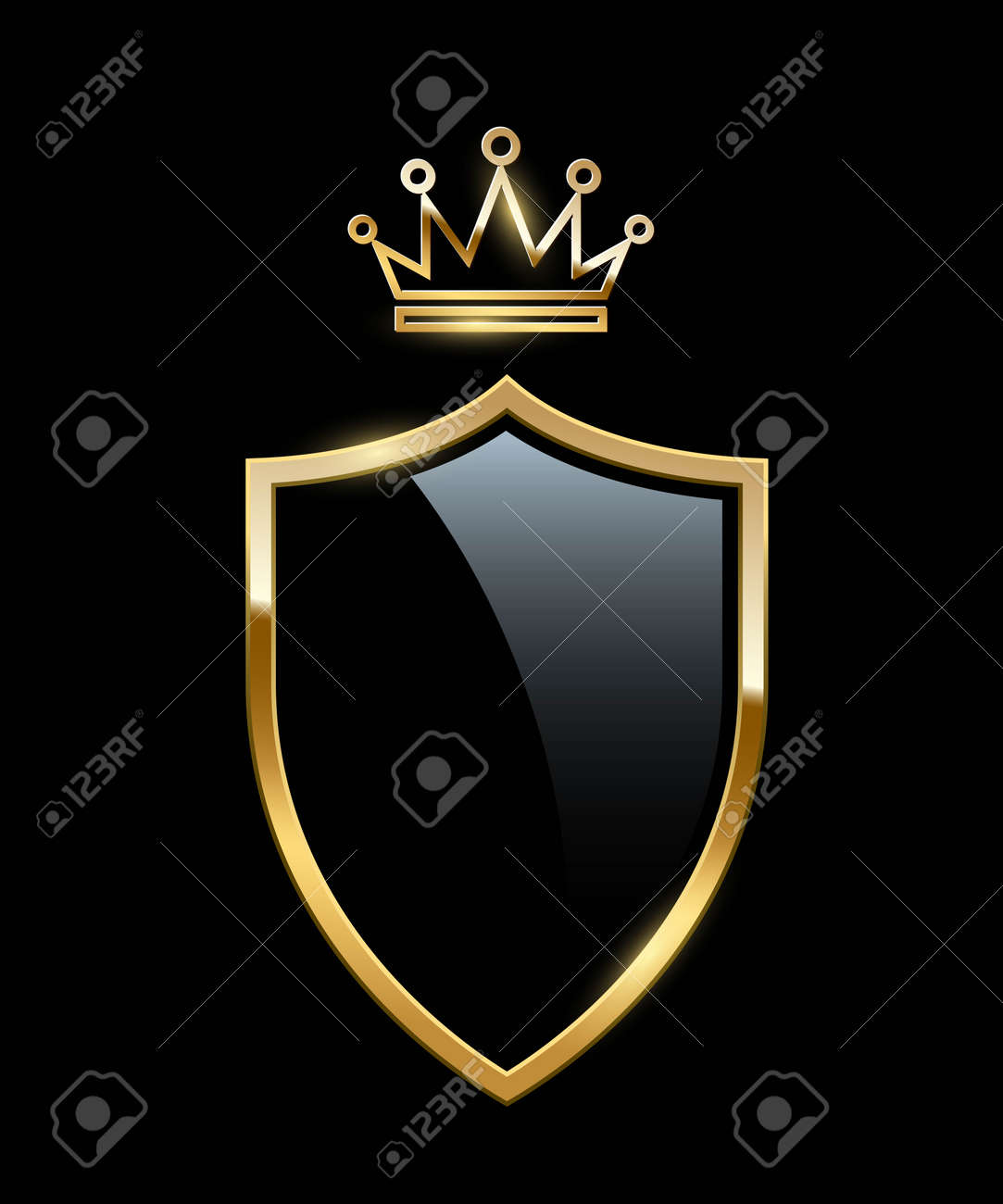 Glass shield with golden frame and crown. Gold heraldic emblems vector illustration. Retro luxury elements with shining sparkles. Heraldry insignia, antique decor on black background - 163505115