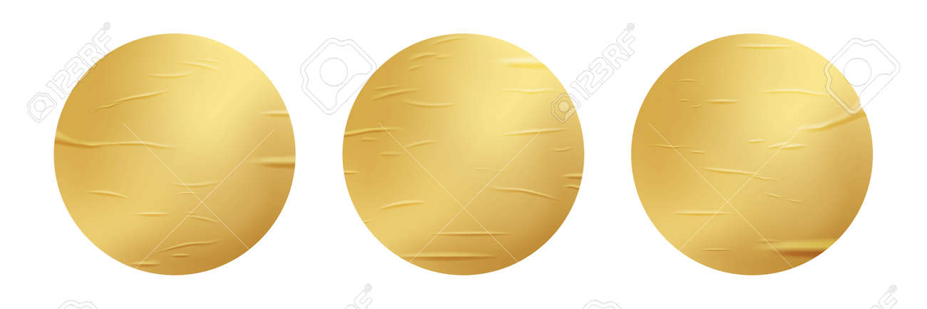 Gold glued round stickers set. 3d circular shaped blank paper labels vector illustration. Wrinkled crumpled bad badges with shining peel effect isolated on white background - 163505813