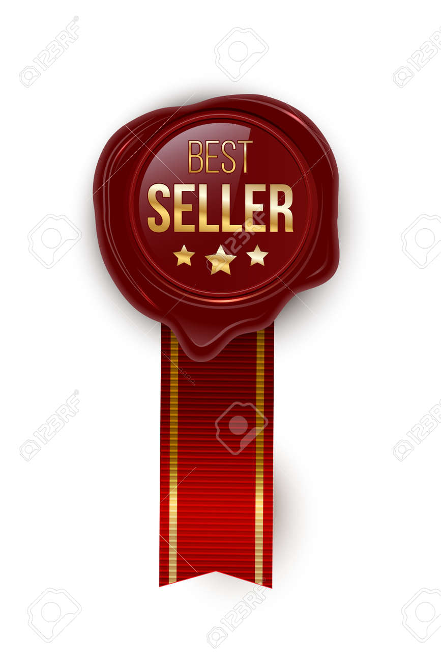 Award seal 3d realistic vector color illustration. Reward. Best seller seal with stars. Certified product. Quality badge, emblem with red ribbon. Winner trophy. Isolated design element. - 163628179