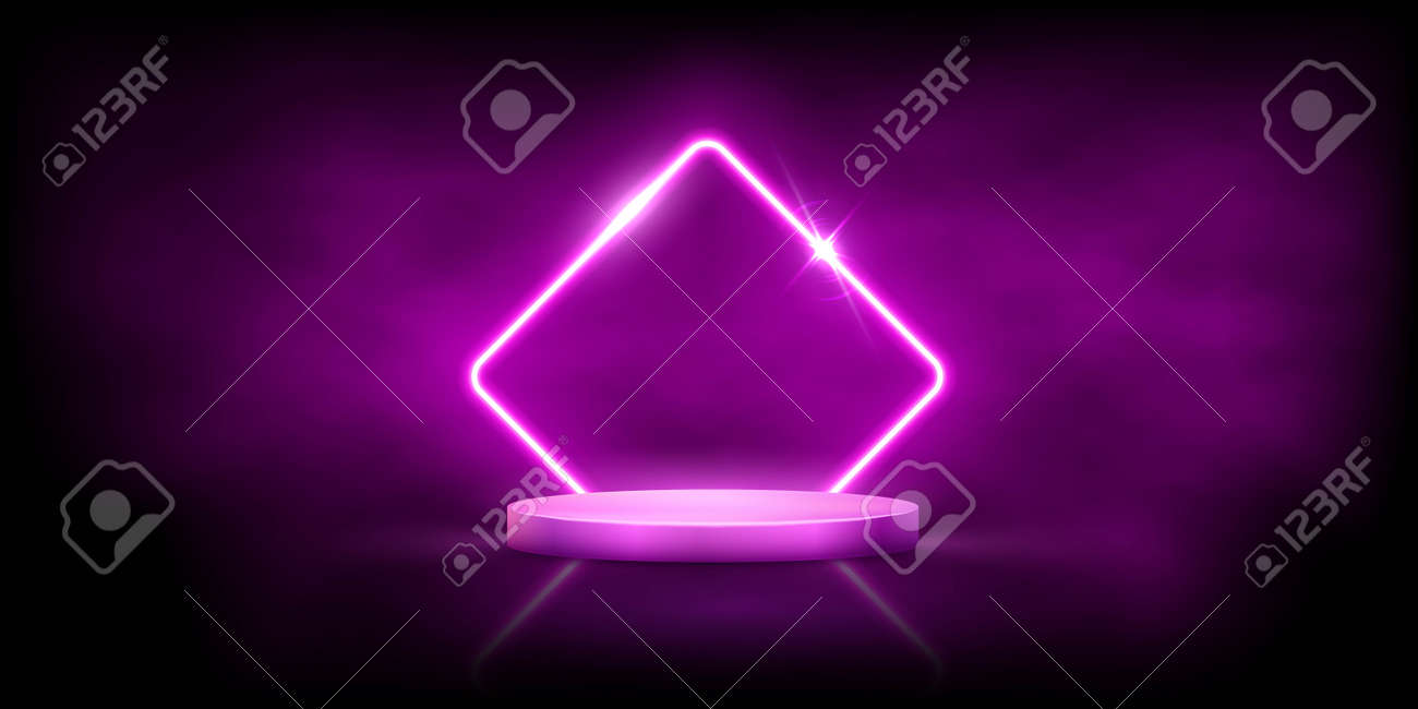 Glowing neon pink rhombus with sparkles in fog on round podium. Abstract electric light frame on black background. Geometric fashion design vector illustration. Empty minimal art decoration - 163877518