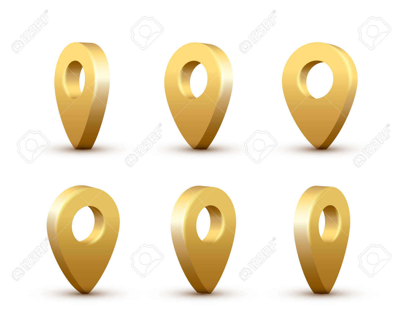 Shiny golden realistic map pins set. Vector 3d gold pointers isolated on white background. Location symbols in various angles - 163961442