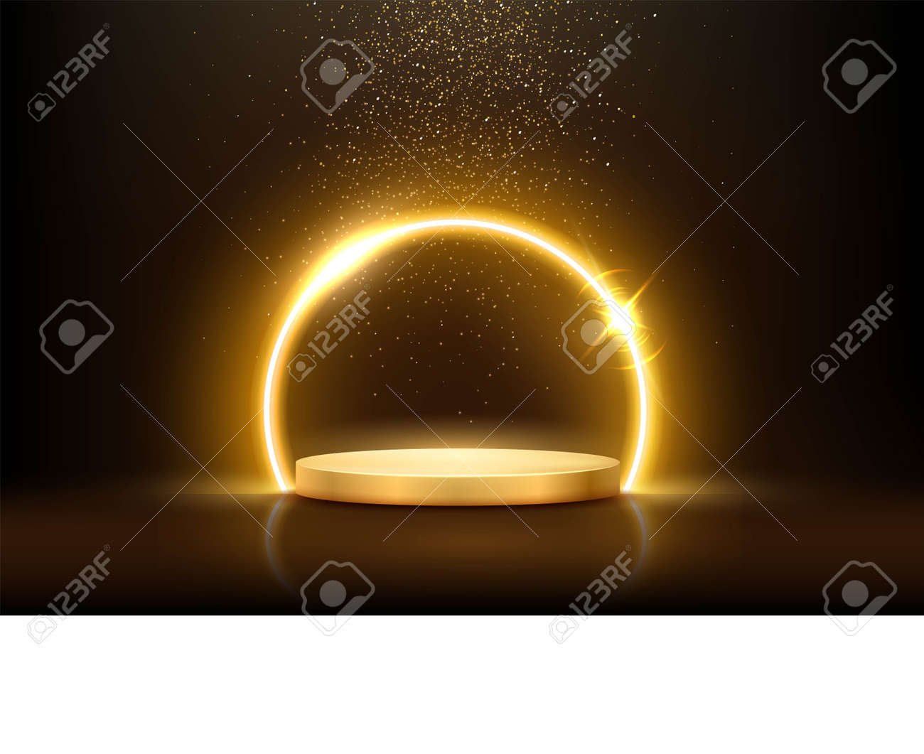 Glowing neon golden circle with sparkles in fog on gold podium. Abstract round electric light frame on dark background. Geometric fashion design vector illustration. Empty minimal ring art decoration - 163961700
