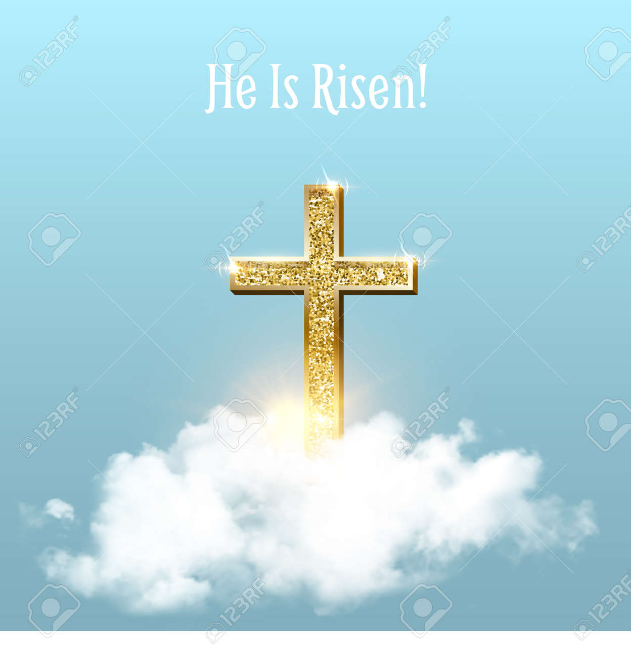 Church cross in heaven sky on Easter background. Christian golden crucifix symbol with clouds and sunbeams vector illustration. Sun shining, religious holiday celebration card with text - 166461059