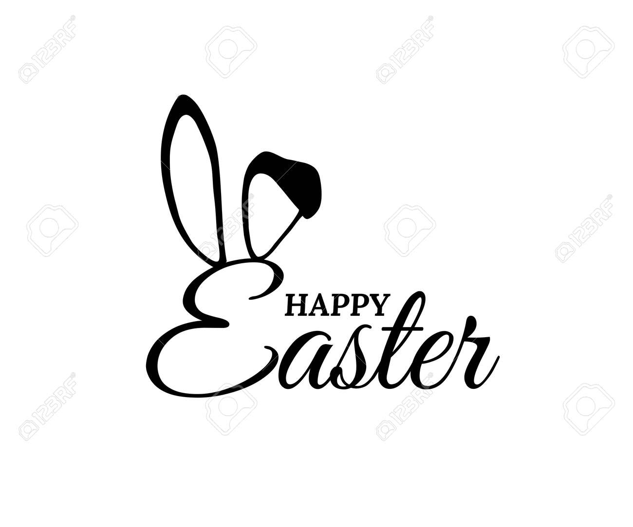 Easter bunny ears on holiday card with text. Rabbit costume mask with letters vector illustration. Cute party invitation on white background. Carnival spring festive decoration - 166393962