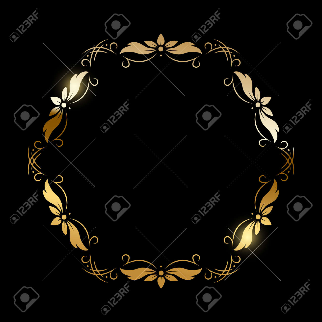 Gold flower pattern circle frame on black background. Round floral decorative golden ornament border vector illustration. Simple vintage card for wedding celebration invitation - 166646568