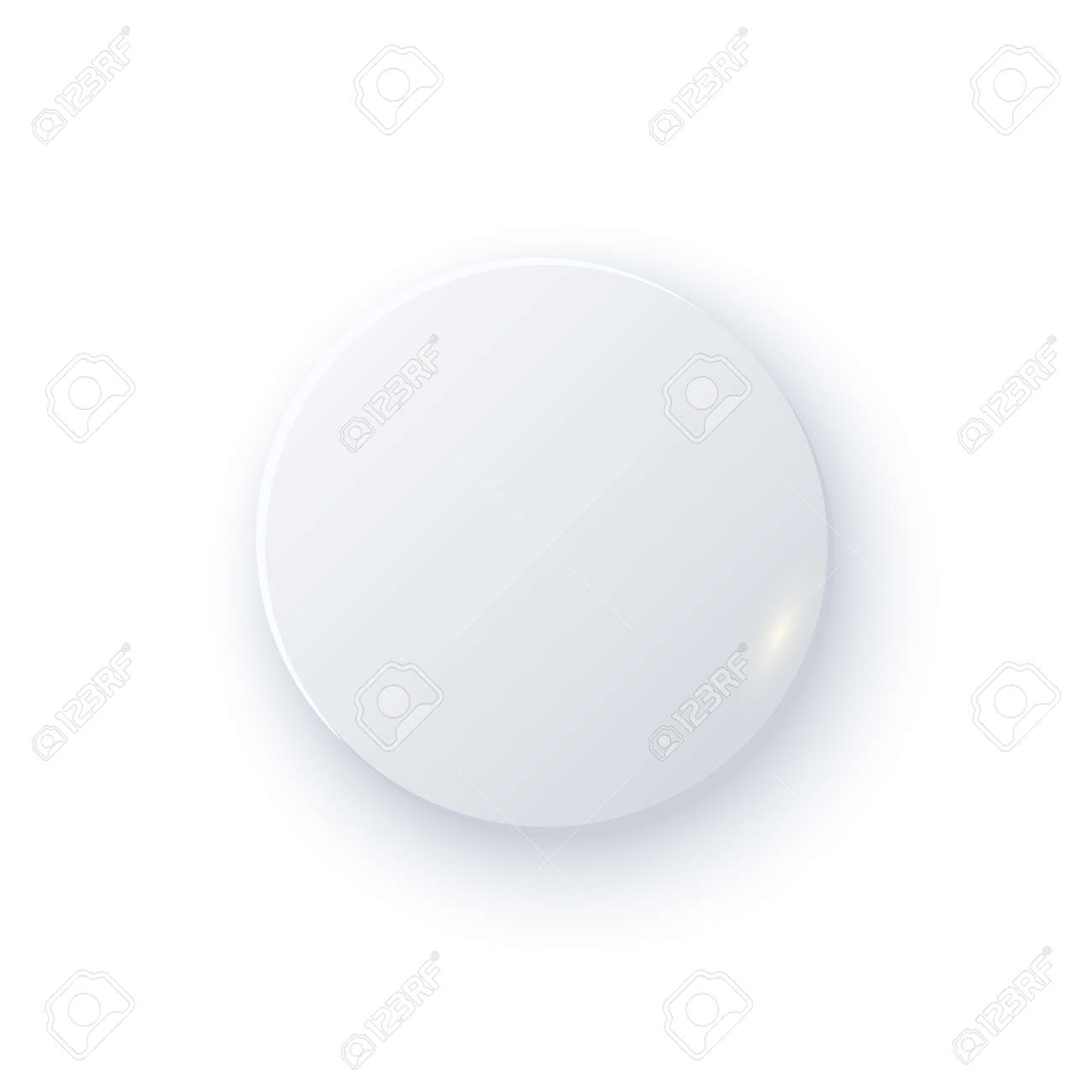 White round button with shade. Web 3d blank modern design vector illustration. Abstract clean element with circle shape isolated on white background. User application template - 166646572