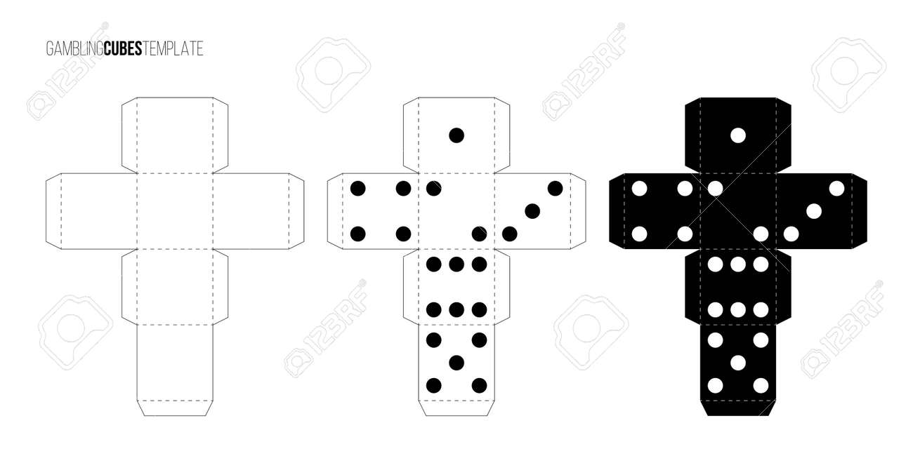 Cubes for gambling paper template set. Casino craps and playing games vector illustration. Poker cubes cutout black and white blueprints, numbers with dots isolated on white background - 166426930