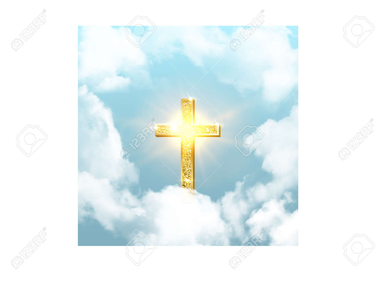 Church cross risen in heaven on Easter background. Christian golden crucifix symbol in sky with clouds and sunbeams vector illustration. Sun shining, religious holiday celebration - 166808749
